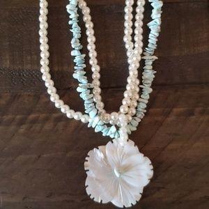 Aqua Faux pearl necklace
